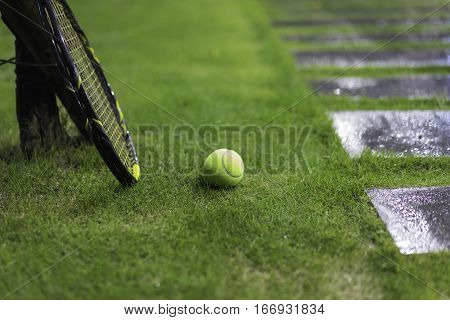 Tennis Ball With Racket On Wet Grass After Raining