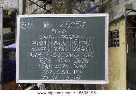 Public Lottery Result Wrote On A Board In Hanoi