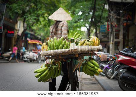 Hanoi Fruit Vendor With Vignette Effect Added