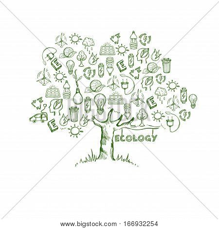 Ecology tree infographics with different energy natural environmental and ecological elements in sketch style vector illustration