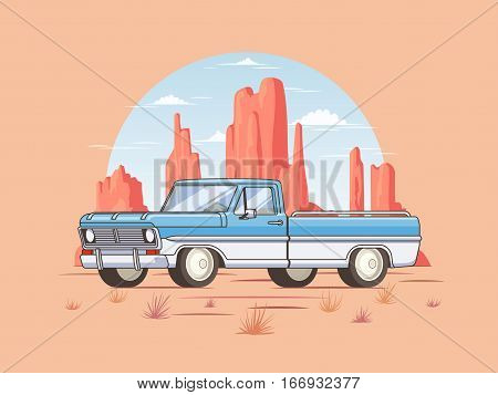Off road pickup truck template of classic design with desert landscape in flat style isolated vector illustration