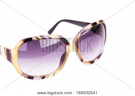 Stylish sunglasses isolated on a white background.
