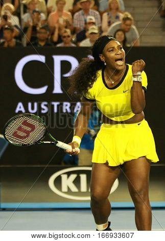 MELBOURNE, AUSTRALIA - JANUARY 28, 2016: Twenty one times Grand Slam champion Serena Williams celebrates victory after her semifinal match at Australian Open 2016  in Melbourne