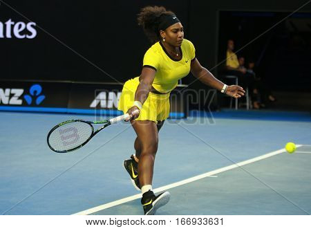 MELBOURNE, AUSTRALIA - JANUARY 28, 2016: Twenty one times Grand Slam champion Serena Williams in action during her final match at Australian Open 2016 at Australian tennis center in Melbourne