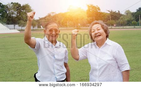 Old Man And Woman Smile