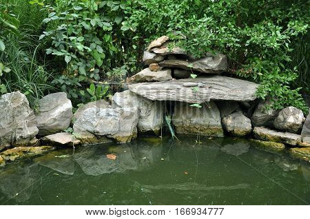 Artificial garden pool with natural stones and green plants. Detail of beautification.