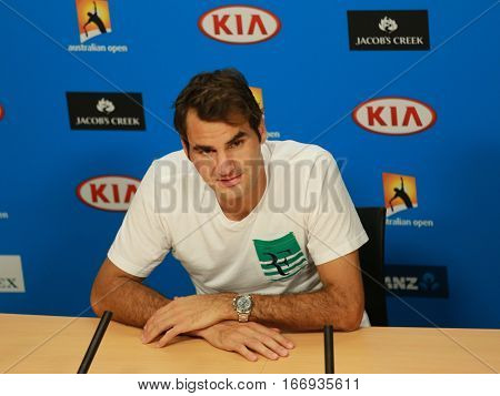 MELBOURNE, AUSTRALIA - JANUARY 26, 2016: Seventeen times Grand Slam champion Roger Federer of Switzerland during press conference after quarterfinal match at Australian Open 2016 in Melbourne Park