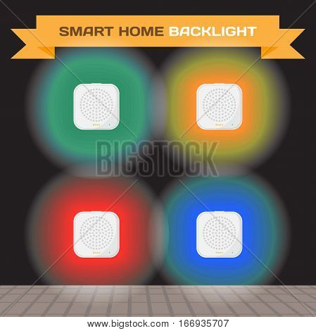 Set smart home gateways with multicolored lights. Vector flat cartoon illustration