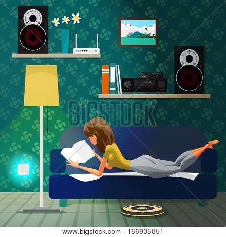 Young woman lying on the couch and reading a book. Robot vacuum cleaner clean floor. Robotics technology concept smart home. Vector flat cartoon illustration