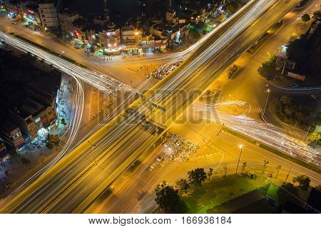 Aerial View Of Hanoi Skyline Cityscape At Night. Le Van Luong - Khuat Duy Tien Intersection , Cau Gi