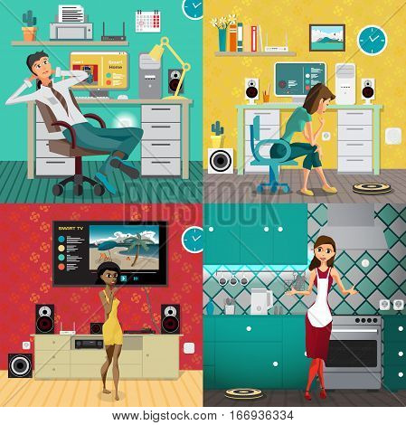 Set of illustrations of people in home interiors. Technology concept smart home. Vector flat cartoon illustration
