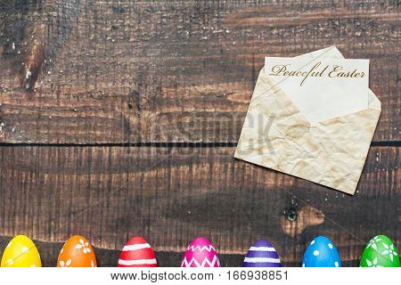 Paschal Eggs On Rustic Table