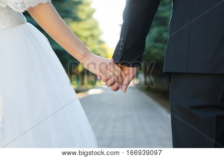 Marry me today and everyday. Newlywed couple holding hands, wedding picture