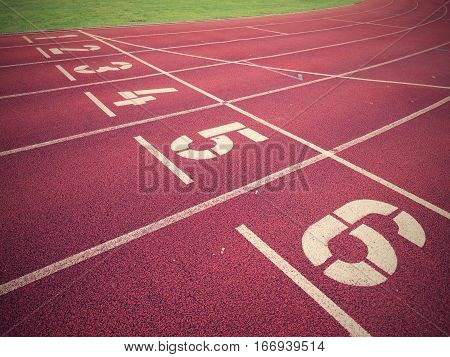 Start. Red Running Racetrack On The Outdoor Athletic Stadium