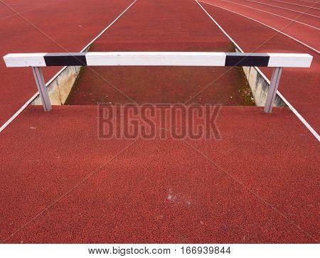 High Hurdle. Hurdle Track Running  Lane. Wooden Hurdle
