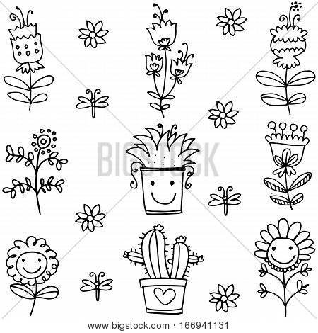 Illustration of spring item doodles collection stock vector
