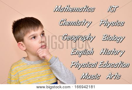 Thoughtful cute young boy thinking about school subjects