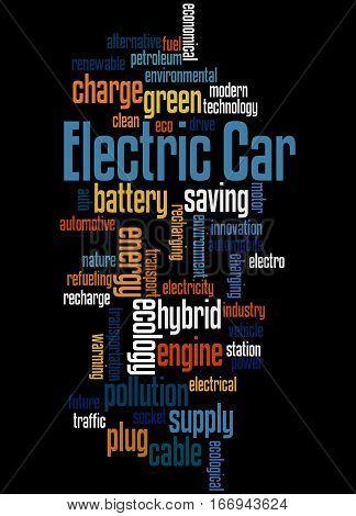 Electric Car, Word Cloud Concept 5