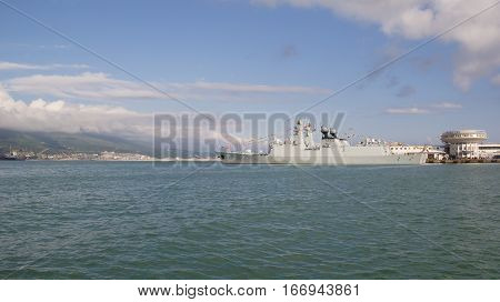 NOVOROSSIYSK, RUSSIA- MAY 9, 2015: Missile frigates naval forces of the Republic of China