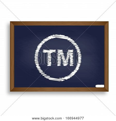 Trade Mark Sign. White Chalk Icon On Blue School Board With Shad