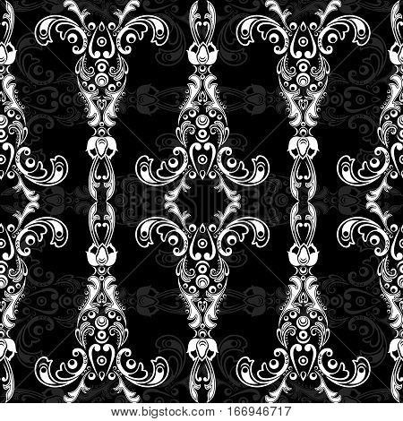 Damask floral seamless pattern with arabesque oriental ornament. Abstract traditional decor for backgrounds wallpaper fabric design decoration. Black and white colors monochrome