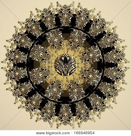 Golden Mandala With Damask Floral Pattern, Arabesque, Fretwork, Round Oriental Ornament. Abstract Tr