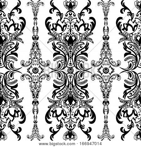 Damask Floral Seamless Pattern With Arabesque, Oriental Ornament. Abstract Traditional Decor For Bac