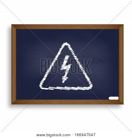 High Voltage Danger Sign. White Chalk Icon On Blue School Board