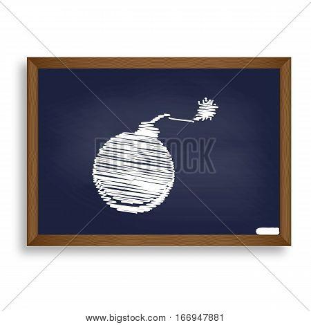 Bomb Sign Illustration. White Chalk Icon On Blue School Board Wi