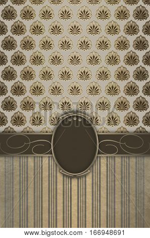 Vintage background with decorative borderframe and old-fashioned patterns. Vintage card or book cover design.
