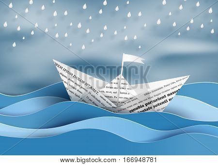 origami made paper sailing boat and raining