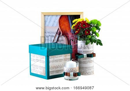 Ukraine Kiev - January 25 2017: Romantic composition made of candle flowers songbook and box with a present. The concept of romantic atmosphere. Valentines day- illustrative editorial.