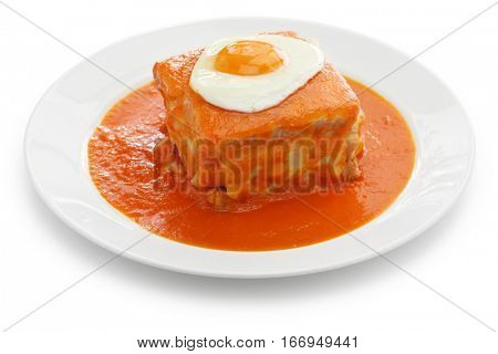 homemade francesinha, portuguese sandwich isolated on white background