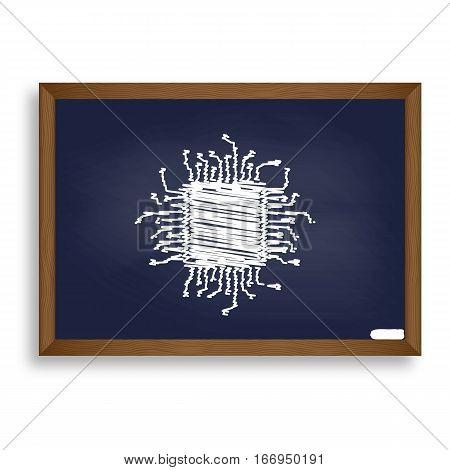 Cpu Microprocessor Illustration. White Chalk Icon On Blue School