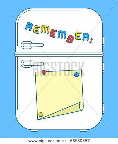 Fridge freezer door with magnets and reminder note with copy space. Vector illustration