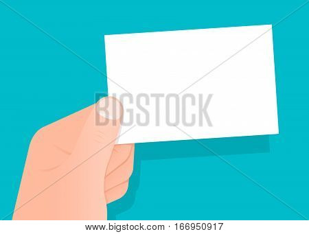 Hand holding a blank white business card with copy space for your trade profession brand contact details and credentials over blue vector illustration