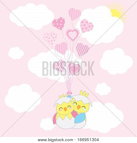 Valentine's day card with cute couple chicks fly with love balloons on the sky suitable for Valentine's day greeting card, invitation card, and postcard
