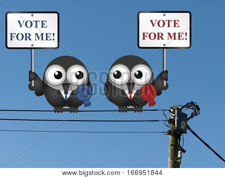 Comical left and right wing politicians vying for your vote perched on electrical cables poster