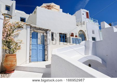 Luxury decks, pensions and patios of Oia, Santorini, Greece