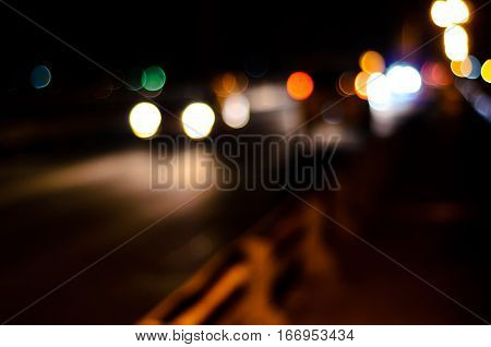 Abstract and blurred background of the car lights