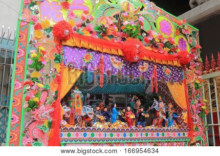 HONG KONG - NOVEMBER 8, 2016: Chinese puppet display at Man Mo temple.
