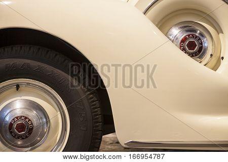 Malaga Spain - December 4 2016: Packard V12 Presidential Car 1939. Displayed at Malaga Car Museum