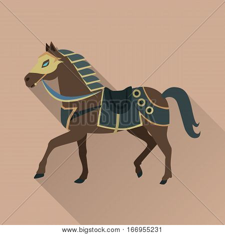 Brown horse with long shadow. Isolated avatar icon with swords. Steady strong horse. Stylized fantasy character. War concept. Part of series of game objects in flat design. Vector illustration.