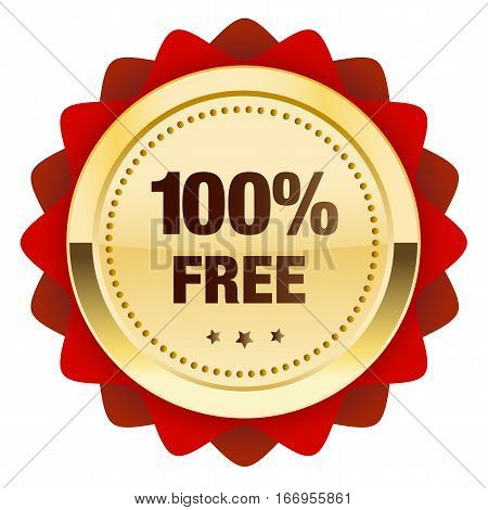 100% free seal or icon. Glossy golden seal or button with stars and red color.