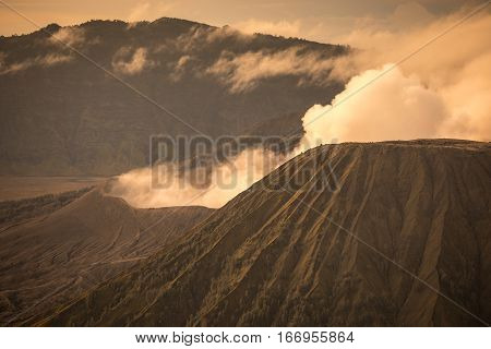Mount Bromo volcano during sunrise in East Java Indonesia.