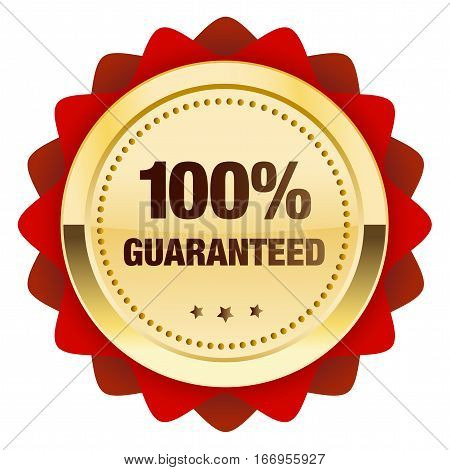 100% guaranteed seal or icon. Glossy golden seal or button with stars and red color.