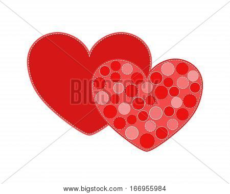 Two red Valentine hearts isolated on white background in PNG format