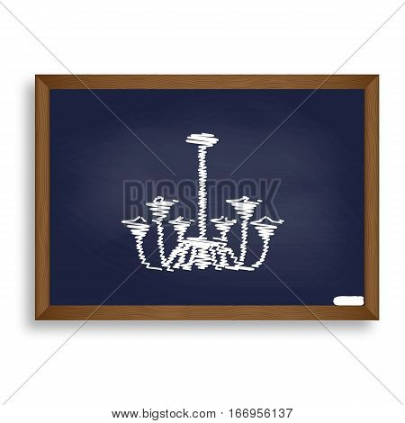 Chandelier Simple Sign. White Chalk Icon On Blue School Board Wi