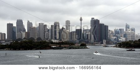 Sydney, Australia - January 26, 2016. Sydney city view on Australia Day from Manns Point.