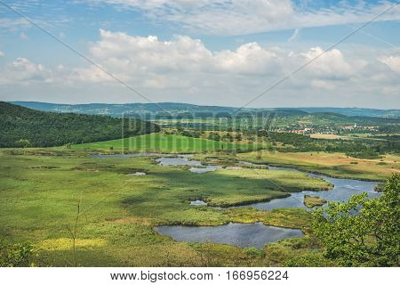 View over inner lakes and fields on Tihany peninsula at lake Balaton, Hungary